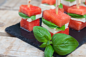 Watermelon and feta cheese on sticks