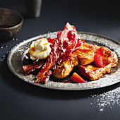 French toast with glazed bacon
