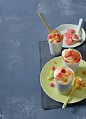 Apricot and peach frozen yoghurt with ginger and rosemary