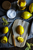 Salted lemons on a wooden board