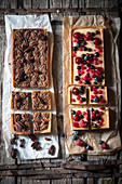 Pecan tart and red berry tart