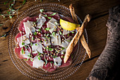Beef carpaccio with parmesan