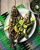Grilled mackerel with green vegetables