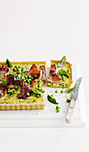 Pea quiche with parmesan, smoked bacon and basil