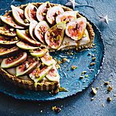 Vegan fig and custard tart