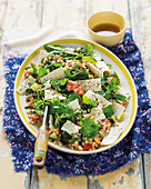 Pearl barley, feta and vegetable salad