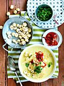 Corn Soup with Parmesan Crisps and Chilli