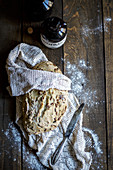 Bread with pine nuts on a white lace doily