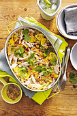 Chicken, squash and coriander pilaf