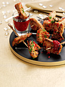 Szechuan turkey kebabs with a dip