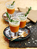Spicy tomato and basil soup with rosemary in shot glasses (Christmas)