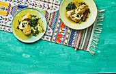 Passion fruit chicken with a spinach and prawn filling (Ecuador)