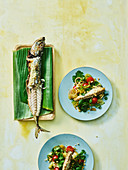 Spicy-sour salad with grilled mackerel (Cook Islands)