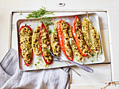 Oven-roasted pointed peppers filled with bulgur and feta cheese