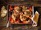 Oven-baked chicken with root vegetables