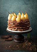 An autumnal pear cake with ganache