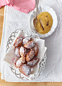 Gebackene Mäuse (Austrian doughnuts) with apple sauce