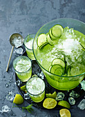 Cucumber sangria with crushed ice