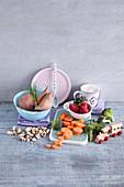 Ingredients for healthy, vegan children's meals