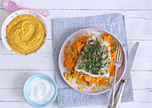 Pesto fish with carrots for mum and pesto fish and carrot mash for baby