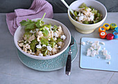 Millet risotto with feta cheese and celery