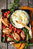 Chicken breast with garlic tomatoes and cauliflower puree