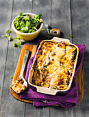 Moussaka with a green salad