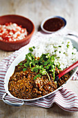 Lentil and beef curry with rice