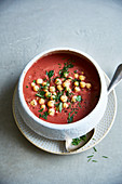 Beetroot and hummus soup with chickpeas