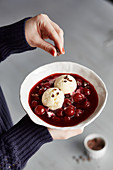 Cold cherry soup 'Mon Cherie' with frozen yoghurt