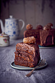 Chocolate and hazelnut cake with a glace chestnut