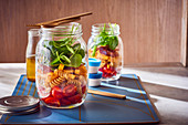 A layered salad in a jar