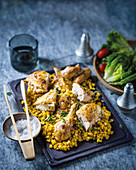 Roast chicken with buttered corn and sage