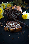Vegan marble cake and daffodils