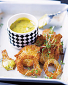 Fried fennel with a warm fennel dip
