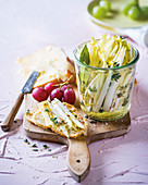 Herb chicory with cheese and bread