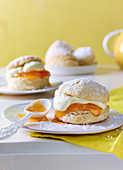 Buttermilk scones with mascarpone and apricot jam
