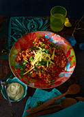 Rice chilli with cheddar and coriander (Mexico)