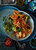 Veggie nachos with spicy guacamole (Mexico)