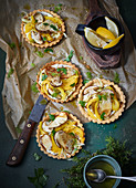 Vegetable tartlets with grilled porccini mushrooms