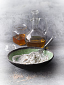Facial exfoliation treatment made from quark, almond flour, olive oil and honey