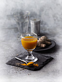 Turmeric drink with ginger to boost the gut