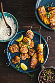 Lemon and garlic chicken skewers with caramelised pineapple