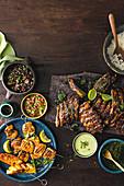 Hähnchenspieße mit Ananas und Slow Cooked Schweinerippchen (Brasilien)