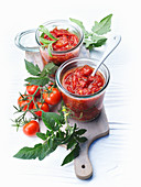 Two jars of tomato chutney