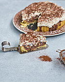 Tart with chocolate cream and cashew nuts