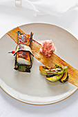 Grilled sablefish wrapped in a banana leaf, Restaurant 'Basiliko' at the Hotel 'Anassa', Cyprus