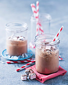 Iced drinking chocolate with marshmallows for Easter