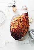 Spiced ginger ale and rum glazed ham