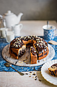 Marble cake with chocolate galze and choco curls